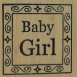 Outlines Rubber Stamp B-537 Baby Girl