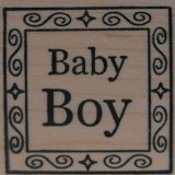 Outlines Rubber Stamp B-538 Baby Boy Small Square