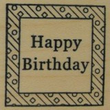 Outlines Rubber Stamp B-666 Happy Birthday Square Small