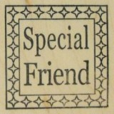Outlines Rubber Stamp B-765 Special Friend Square Small