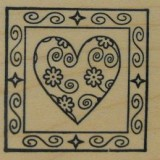 Outlines Rubber Stamp – B343 Heart Square Small