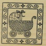 Outlines Rubber Stamp – B394 Pram Square Small