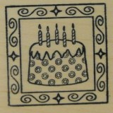 Outlines Rubber Stamp – B397 Cake Square Small