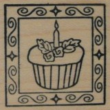 Outlines Rubber Stamp – B398 Cupcake Square Small