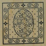 Outlines Rubber Stamp – B531 Flower Egg Square Small
