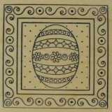 Outlines Rubber Stamp – E517 Decorated Egg Square Large