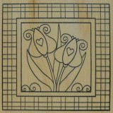 Outlines Rubber Stamp – E678 Tulip Square Large – 1 only