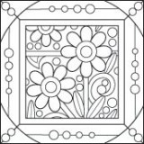 Outlines Rubber Stamp – E734 Flower Motif 2 Square Large
