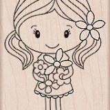Hero Arts – H5330 Girl Holding Flowers..
