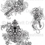 HCPC3571 Key Roses Cling Rubber Stamp..