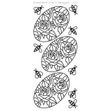 Elizabeth Crafts Sticker – Roses in Oval Black..
