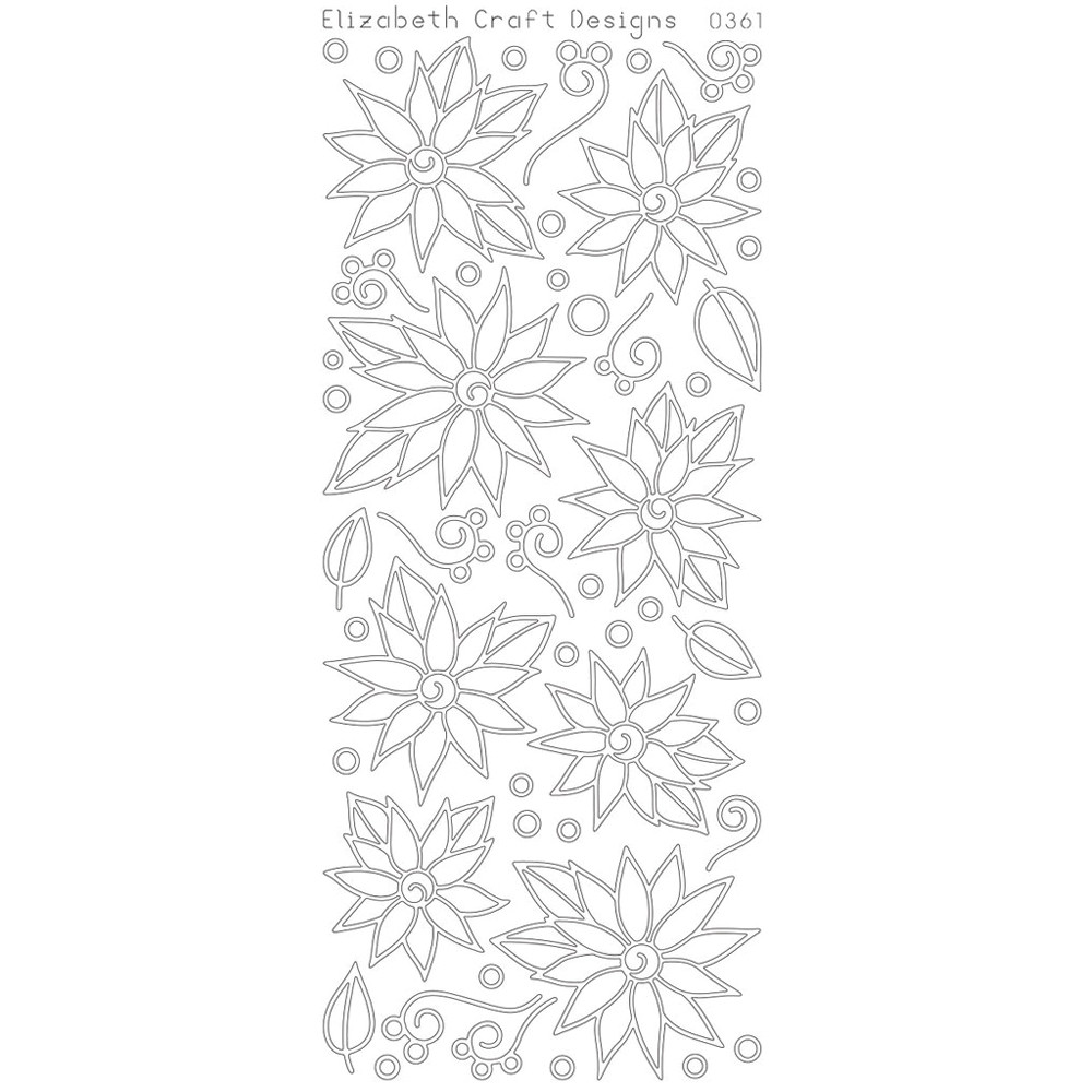 Elizabeth Crafts Sticker 0361 Daisies / Poinsettia with Doodles (black)..
