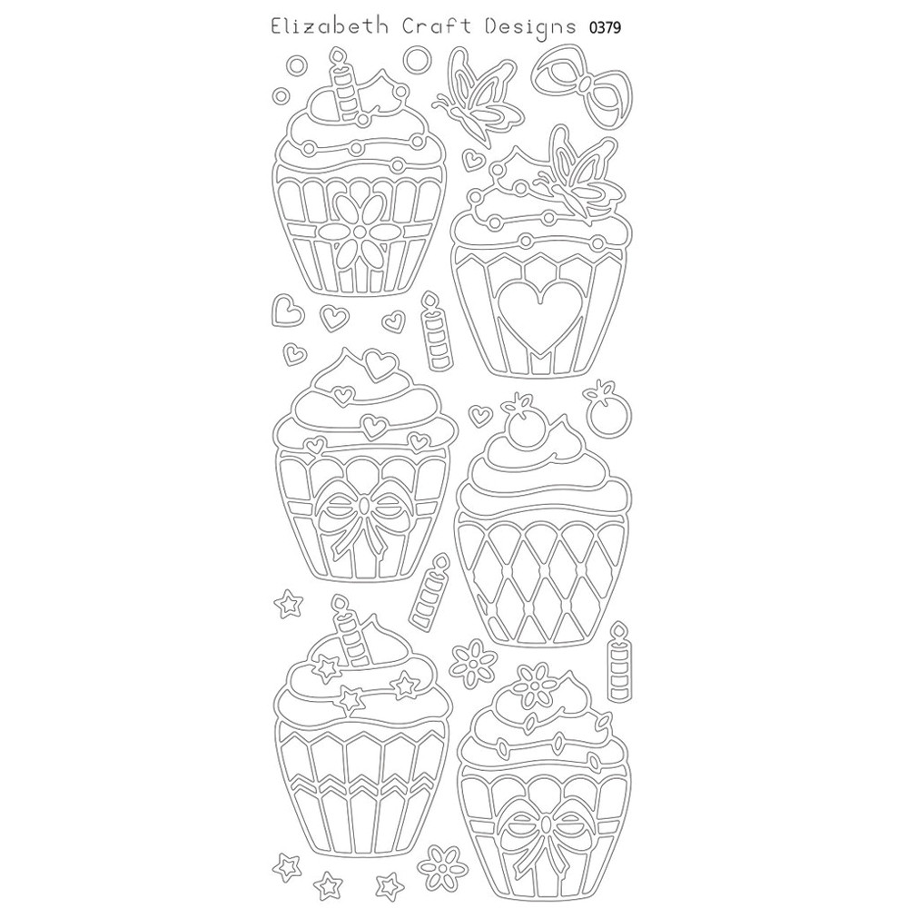 Elizabeth Crafts Sticker 0379 Cupcakes (gold)
