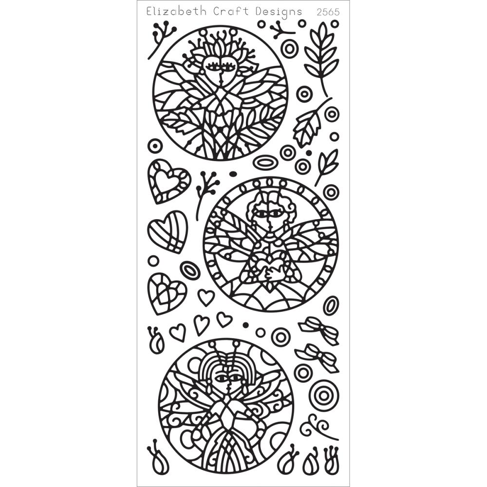 Elizabeth Crafts Sticker 2565 Dragonfly Ladies in Circles (Black)..