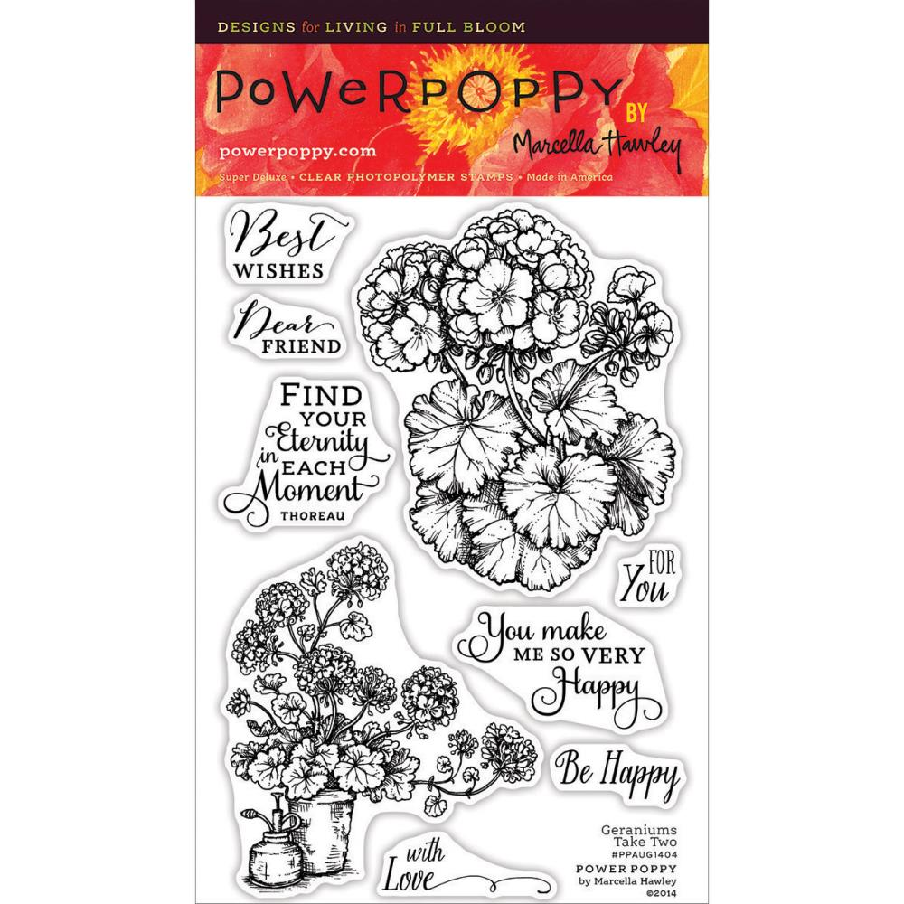 Power Poppy Clear Stamp – Geraniums – out of stock