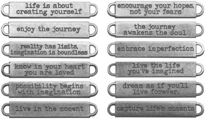 Idea-Ology Metal Word Bands – Antique Nickel Life – TH93000
