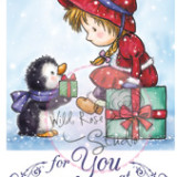 Wild Rose Studio – CL426 Girl with Penguin