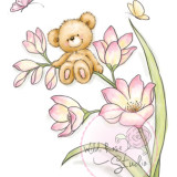 Wild Rose Studio – CL484 Bear on Flower