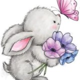 Wild Rose Studio – WRSCL463 Bunny and Butterfly – out of stock