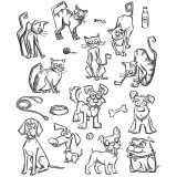 Stampers Anonymous / Tim Holtz CMS272 Mini Crazy Cats and Dogs..- out of stock