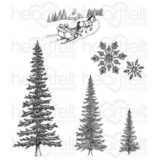 Heartfelt Creations HCPC3749 Snow Kissed Spruce Cling Stamp Set..