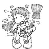 Magnolia Rubber Stamp – Autumn Tilda with Broom