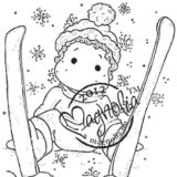 Magnolia Rubber Stamp – Ski Edwin with Snowflakes