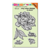 Stampendous Fresh Peony cling stamp set (CRS5103) and die set (DCS5103)